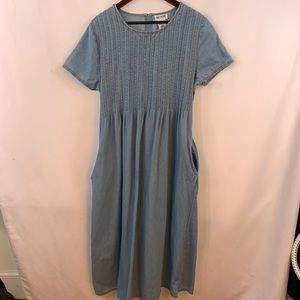 Blair Denim Dress 16 Jean Pintuck Smocked Maxi